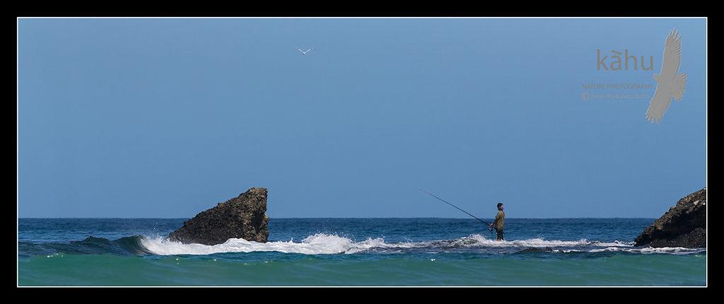 Lone fisherman, Spirits Bay, Northland   SS3